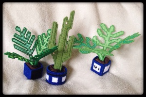 Three Plastic Canvas Plants