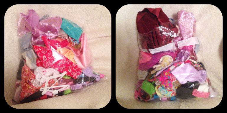 A giant bag of Barbie clothes.