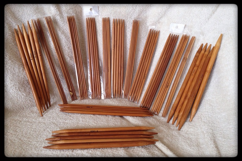 Double pointed knitting needles made out of carbonized bamboo.