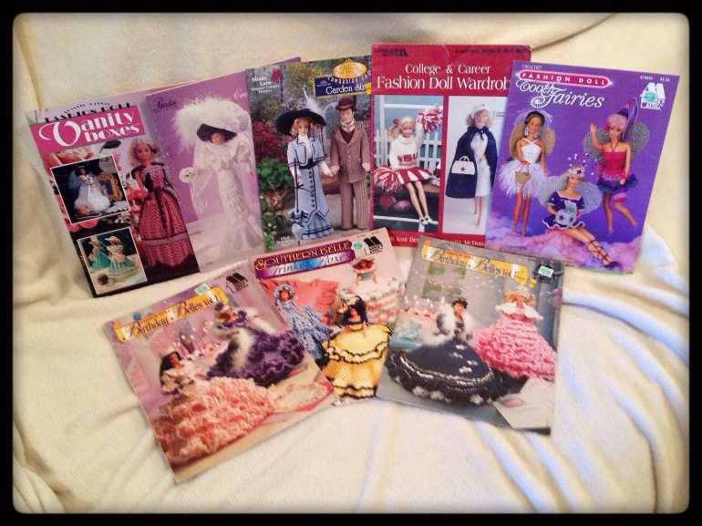 Various fashion-doll pattern books.