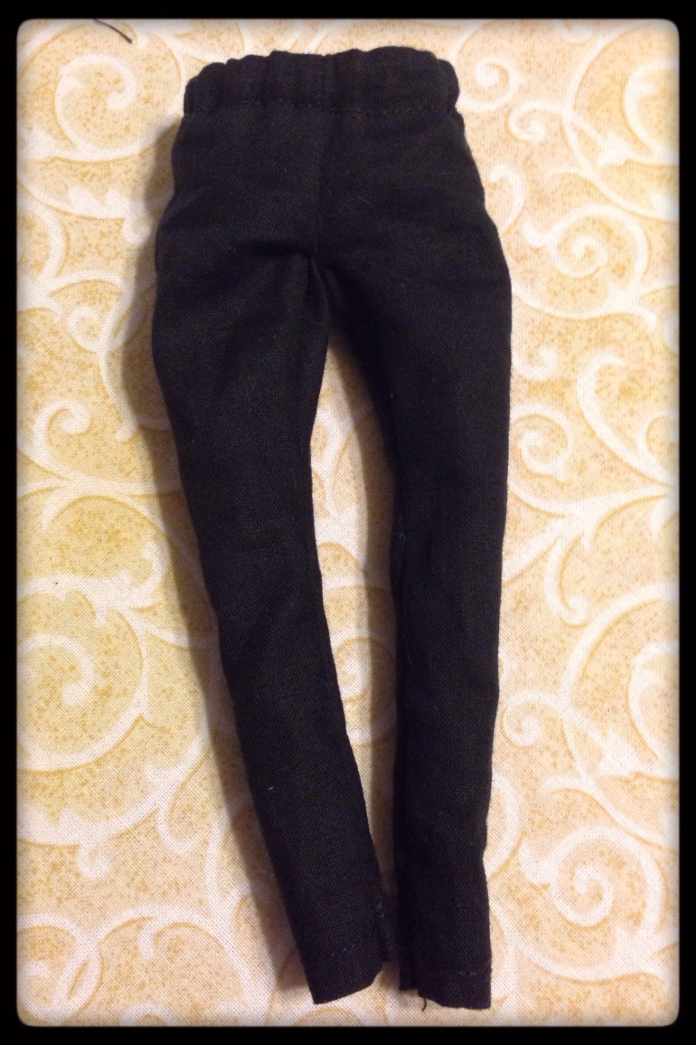 A pair of sewn pants for an Ood doll.